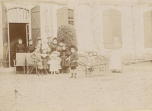 Family France Garden Children Car Toy Old Snapshot 1900