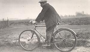 France Saint Amand Man Bicycle Study Old Snapshot 1936