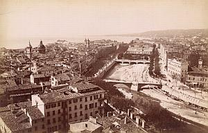 French Riviera Nice Panorama Dry River Old Jean Gilletta Photo 1880'