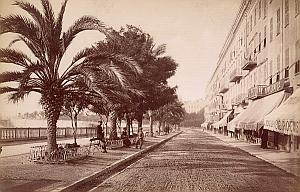 French Riviera Nice Quai Massena Animated old Jean Gilletta Photo 1880'