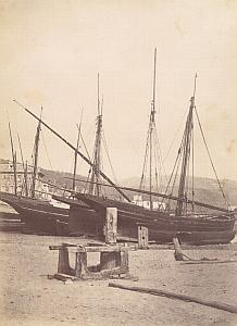 French Riviera Nice Fishing? Sailboats Old Jean Gilletta Photo 1880'