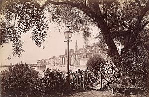 French Riviera Menton Harbour City Panorama old Jean Gilletta Photo 1880