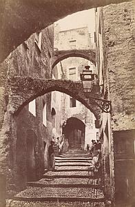 Italy Sanremo Old Town Steep Cobbled Street Old Jean Gilletta Photo 1880'