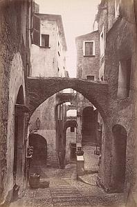 Italy Sanremo Old Town Cobbled Street Alley old Jean Gilletta Photo 1880'
