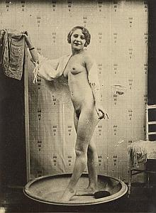 Woman Nude Risque Bath Old Large Photo 1930