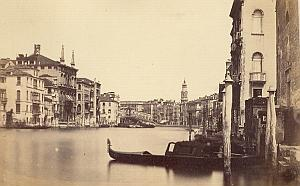 Gondola Rialto Bridge Panorama Venezia Old Photo 1860