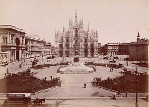 Milano Piazza del Duomo Animated Italy Old Photo 1880