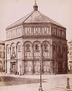 Firenze Baptistero Facade Italy Old Brogi Photo 1880