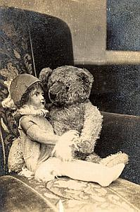 Doll & Bear Two Friends Old Snapshot Photo 1924