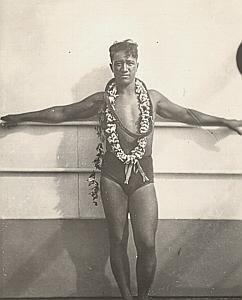 USA Hawaii Holiday Man Study Old Snaphot Photo 1930