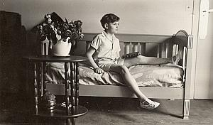 Boy on Bed Composition Study France Snapshot Photo 1932