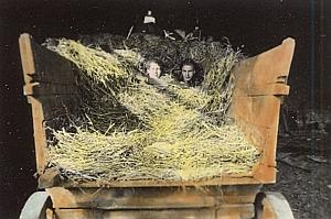 Two Friends in Straw Cart Colored Snapshot Photo 1930