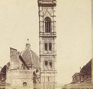 Campanile Firenze Italy old Sommer stereo Photo 1870