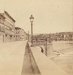 Arno River Firenze Italy old Sommer stereo Photo 1870