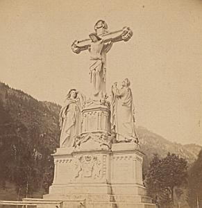 Oberarmergau Bavarian Alps old stereo Photo 1890