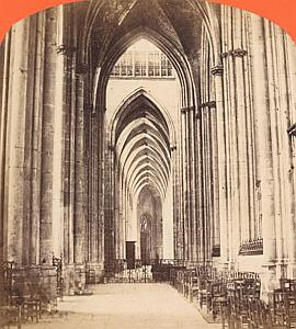 Church Interior Dieppe France Old stereo Photo 1870