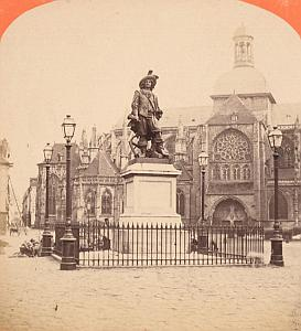 Duquesne Statue Dieppe France Old stereo Photo 1870