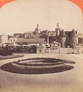 Casino Gardens Dieppe France Old stereo Photo 1870