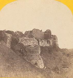 Castle Ruins Dieppe France Old stereo Photo 1870