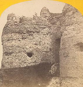 Castle Ruins Arques-la-Bataille near Dieppe France Old stereo Photo 1870