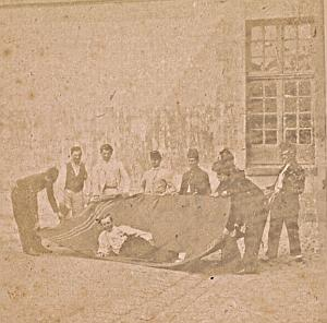Humoristic Scene Group France Old Photo Stereo 1870