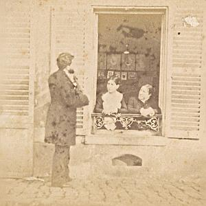 Humoristic Scene France Old Photo Stereo 1870