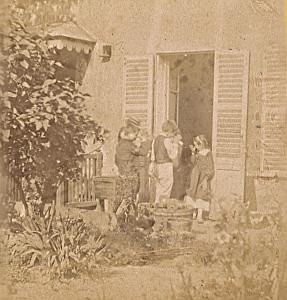 Family Scene House France Old Photo Stereo 1870