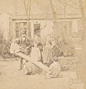 Seesaw Humoristic Scene France Old Photo Stereo 1870