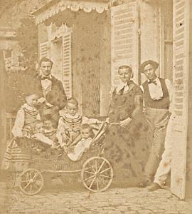 Family Scene France Old Photo Stereo 1870