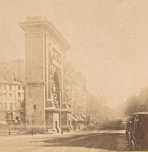 Porte Saint Denis Paris France Old Stereo Photo 1870