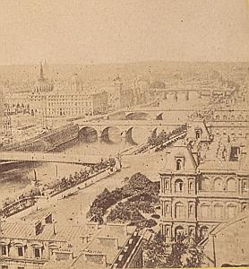 Panorama Paris France Old Stereo Photo 1870
