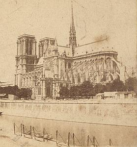 Notre Dame Church Paris France Old Stereo Photo 1870