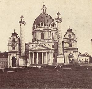 Austria Vienna St Charles Church Old Stereo Photo 1870