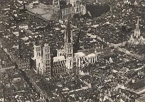 Rouen City Aerial View France Old CAF Photo 1920's