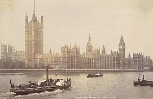 Parliament Thames Boats United Kingdom Old Photo 1880