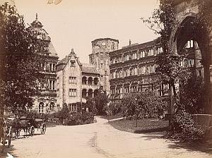 Heidelberg Castle Germany Renaissance Architecture Old Photo 1880