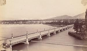 Geneva Lake Panorama Bridge Switzerland Old Photo 1880