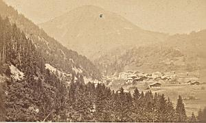 Aigle City Panorama Switzerland Old CDV Photo 1870