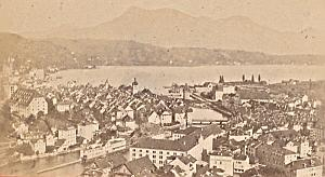 Lucerne & Rigi Panorama Switzerland Old CDV Photo 1870