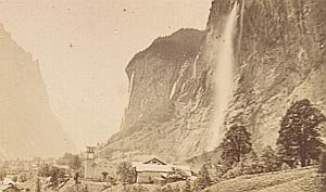Lauterbrunnen Falls Switzerland Old CDV Photo 1870