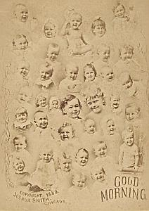 Smith Photomontage baby Chicago Old Cabinet Card Photo 1880