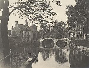 Bruges Beguinage Canal Bridge Belgium Old Photo 1920 Later Print