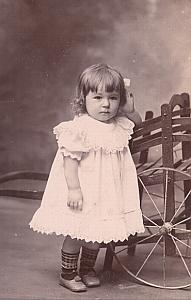 Young Baby Charriot Toys Fashion France Old Photo 1900