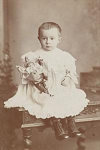 Young Girl Doll Toys Fashion France Old Photo 1900