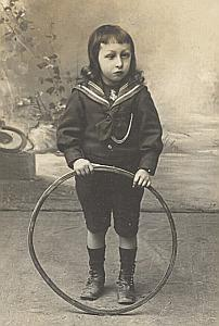 Young Boy Hoop Toys Fashion France Old Photo 1900