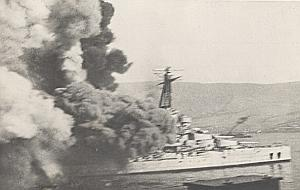 WWII Battleship Mers el Kebir Bretagne Fire Photo 1940