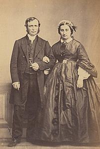 John & Eugènie Bost Suisse Protestantisme Ancienne CDV Photo Autographe 1860