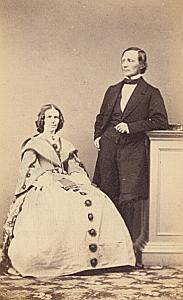 Pasteur Théophile Rivier & son épouse Suisse Protestantisme Ancienne CDV Photo Autographe 1860