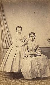 Anna & Emilie Cazaban Protestantisme Pau Ancienne CDV Photo 1860