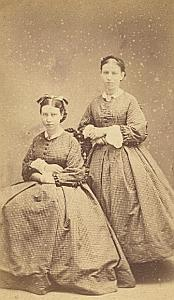 Cecile et Charlotte Vallette Protestantisme Paris Ancienne CDV Photo Autographe 1860